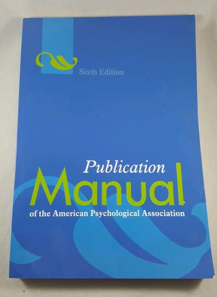 Publication manual APA American Psychological Association Book Sixth