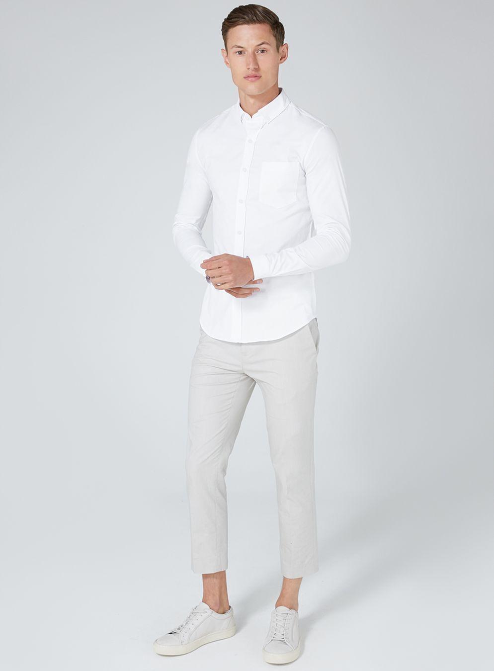 ea6c4c26b74 White Muscle Fit Oxford Shirt - TOPMAN USA  musclefitness