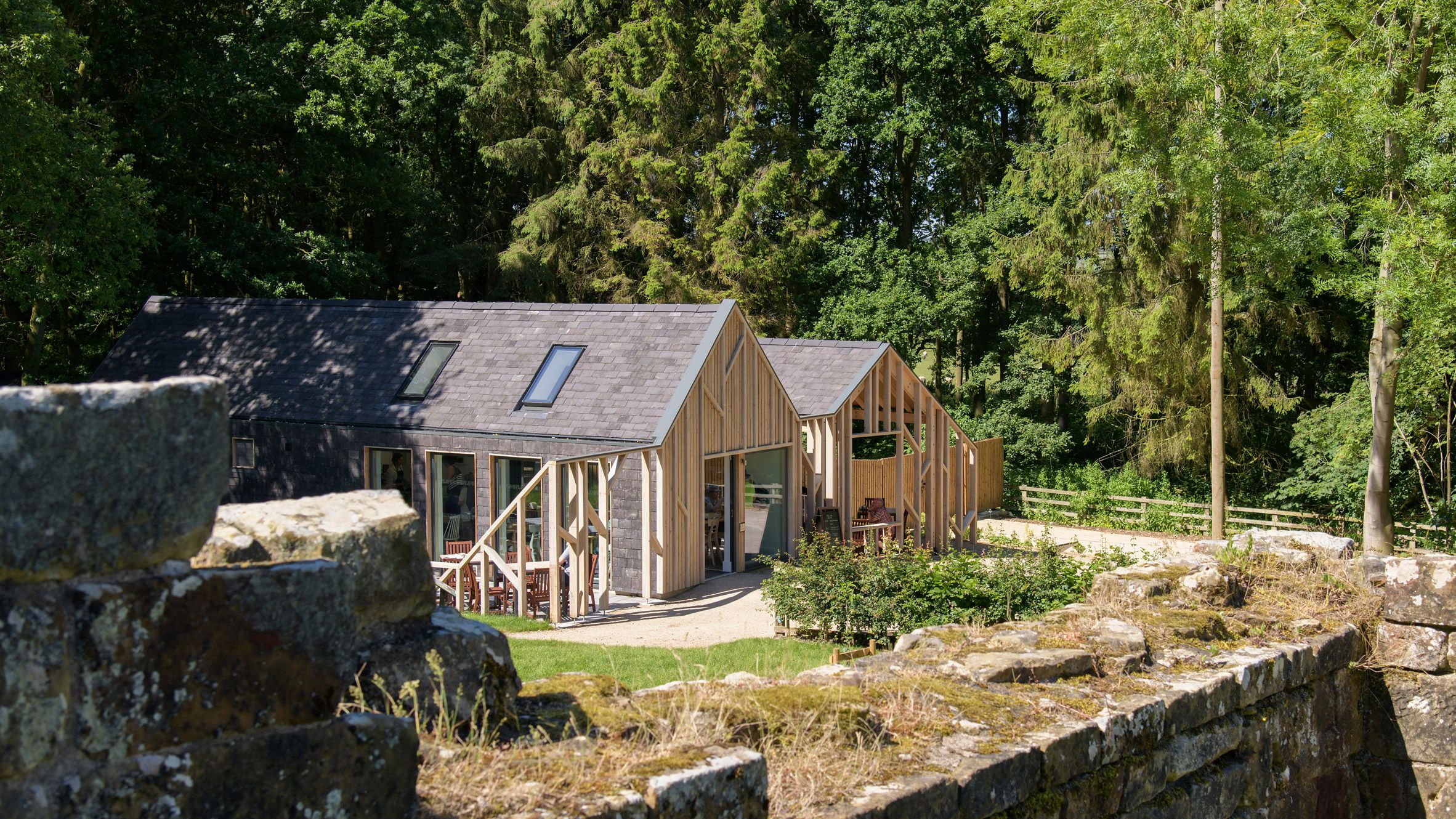 Gabled timber frames front this cafe in Yorkshire, which
