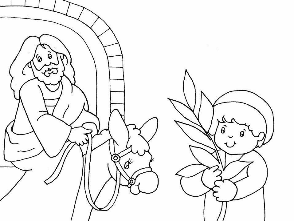 Palm Sunday Coloring Pages | Jesus comes toJerusalem. A boy with a ...