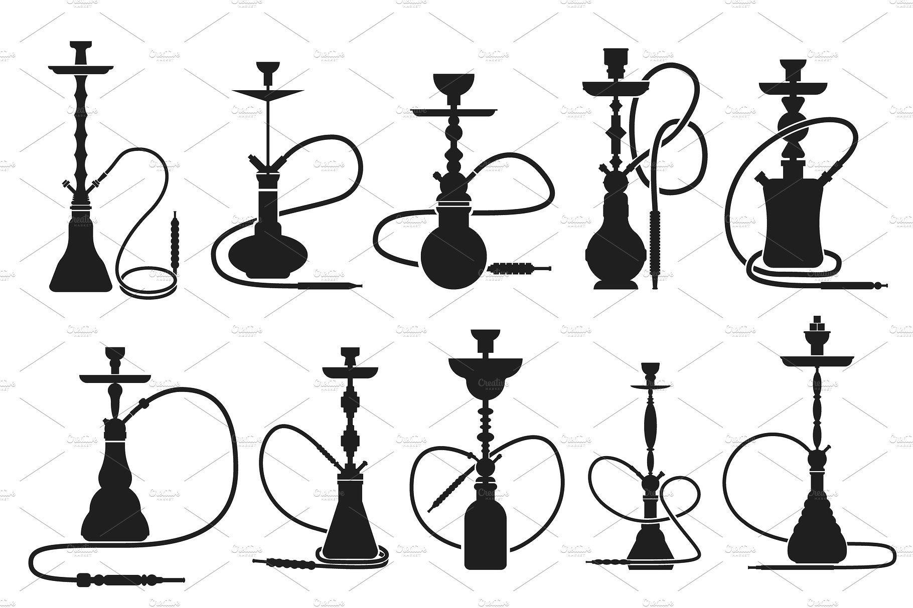 Hookahs Set Silhouettes Kalyany Graficheskij Dizajn Vdohnovenie