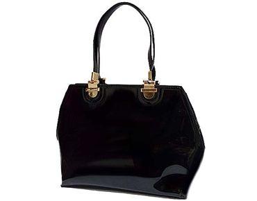 Black Patent Slim Design Handbag With Long Shoulder Strap A Shu Co Uk