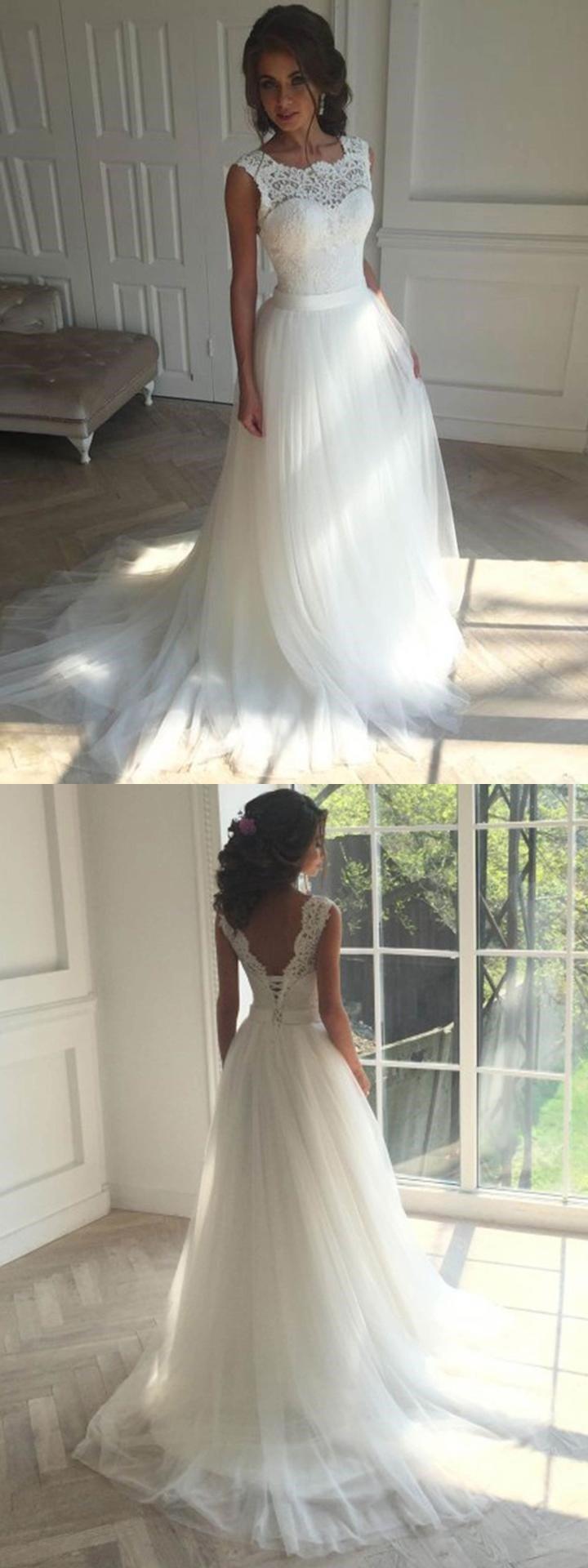 Cheap unique wedding dresses  Unique Scoop Lace Aline Long Cheap Wedding Dresses Online WD