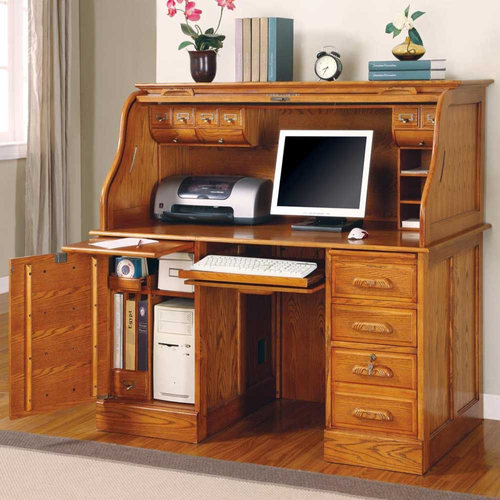 Oak office desk benefits for home office - Oak Roll Top Computer Desk Home Furniture Design