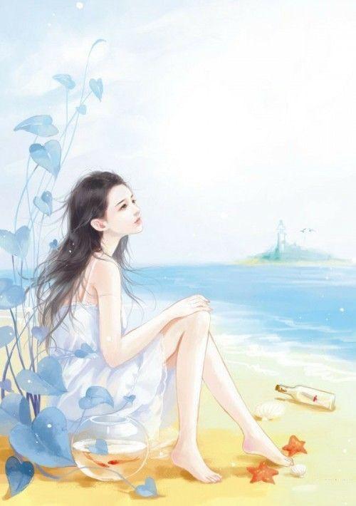 小清新なイラスト 綺麗なお姫漫画 美しい浜 ブルー系アニメ オシャレ