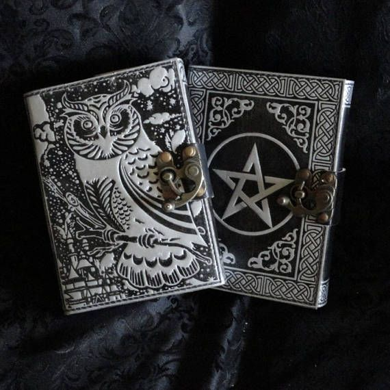 Two Leather Grimoire Or Book Of Shadows With