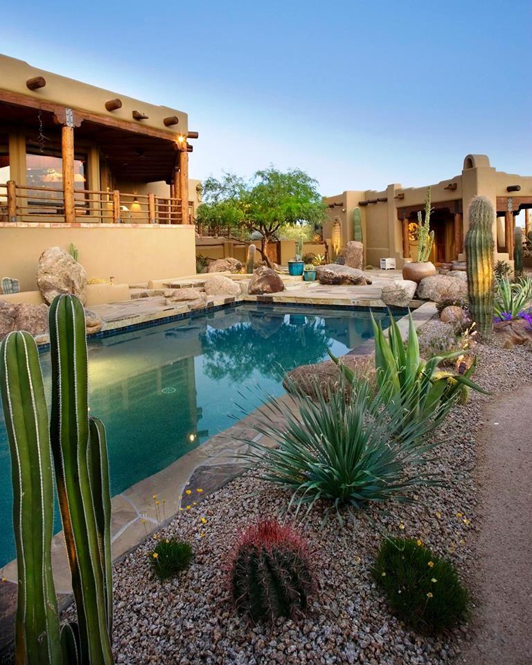 Southwestern garden landscape pool borders the great for Garden pool in arizona