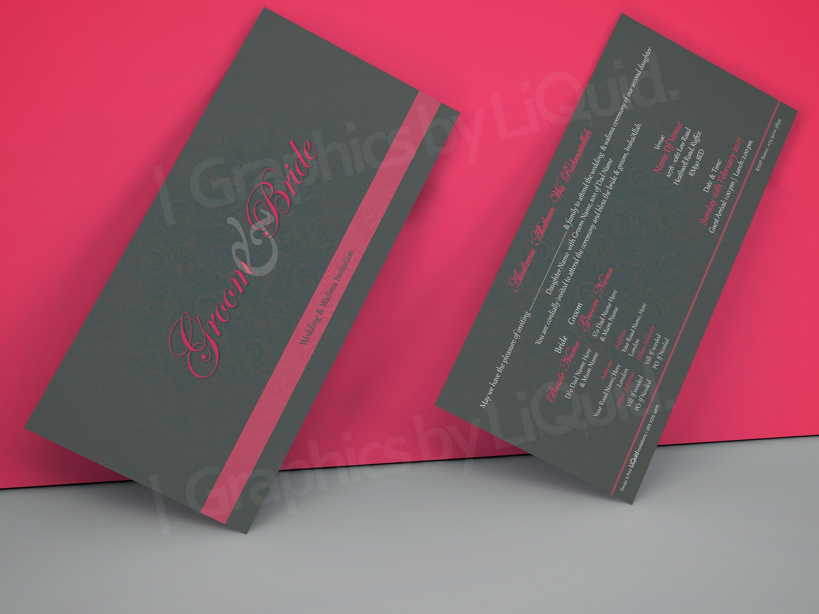 Grey & Pink Double Sided Wedding Invitation Card QDL23 | Wedding ...