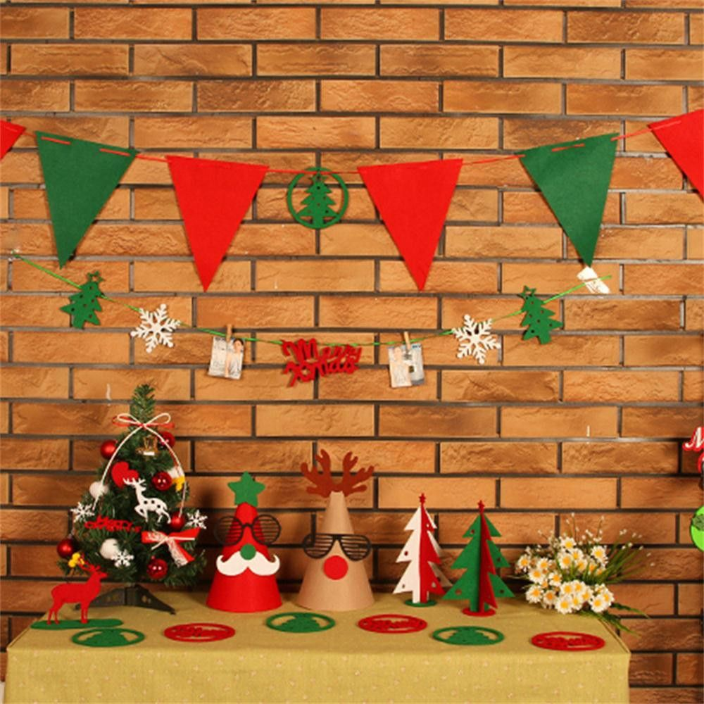 1Set DIY Christmas Decorations Props Set Tree Flag