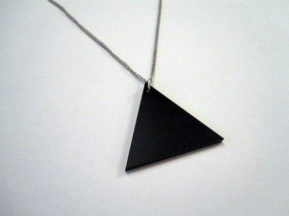 BLACK TRIANGLE Necklace by PandaEyesPendants on Etsy, $15.00
