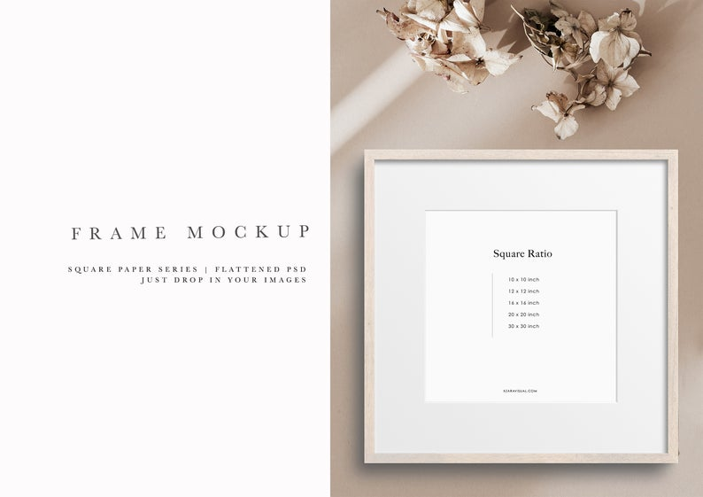 Frame Mockup 303 Birch Wood Square Picture Frame Mockup Styled Thin Frame Mock Up Square Wall Art Display Psd Smart Object In 2020 Square Wall Art Frame Mockups Art Display