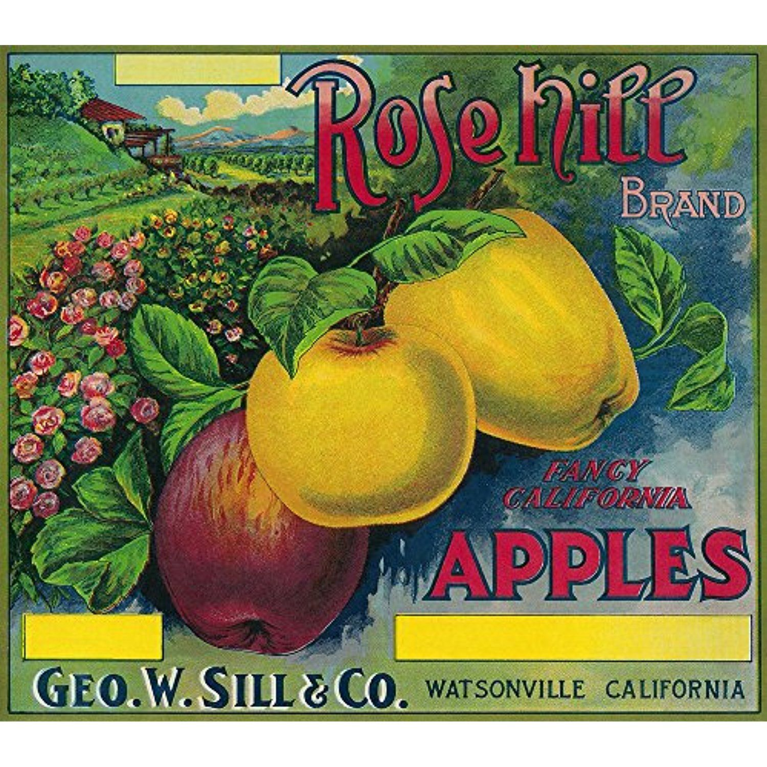Rose Hill Apple Crate Label (12x18 SIGNED Print Master Art Print w ...