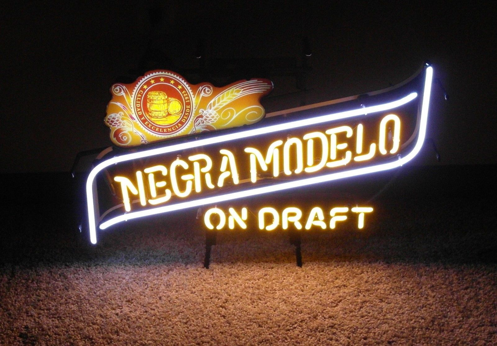 Negra Modelo On Draft Beer Glass Neon Light Bar Sign - 26
