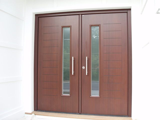 Custom designed double front door in mahagony finish for New double front doors
