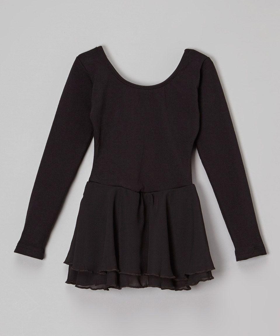 Look at this #zulilyfind! Black Long-Sleeve Skirted Leotard - Toddler & Girls by Eurotard #zulilyfinds