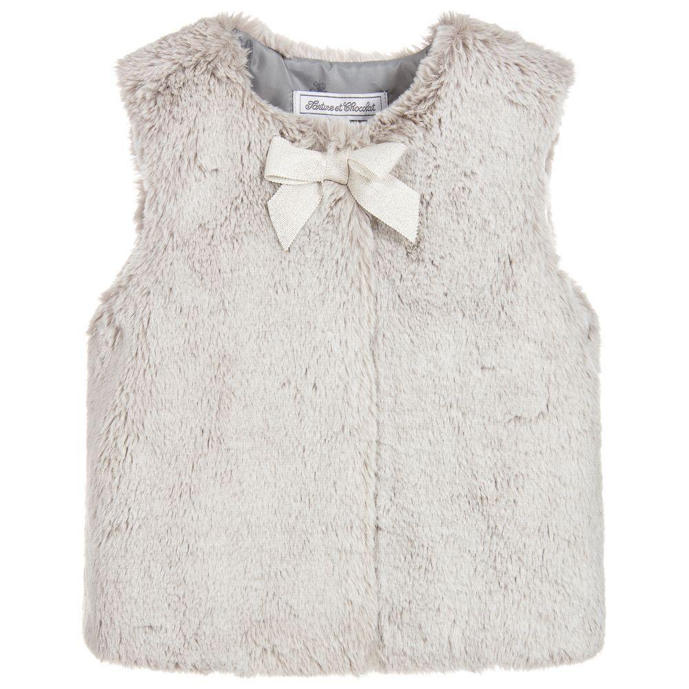 55c860ce2 Girls Grey Faux Fur Gilet