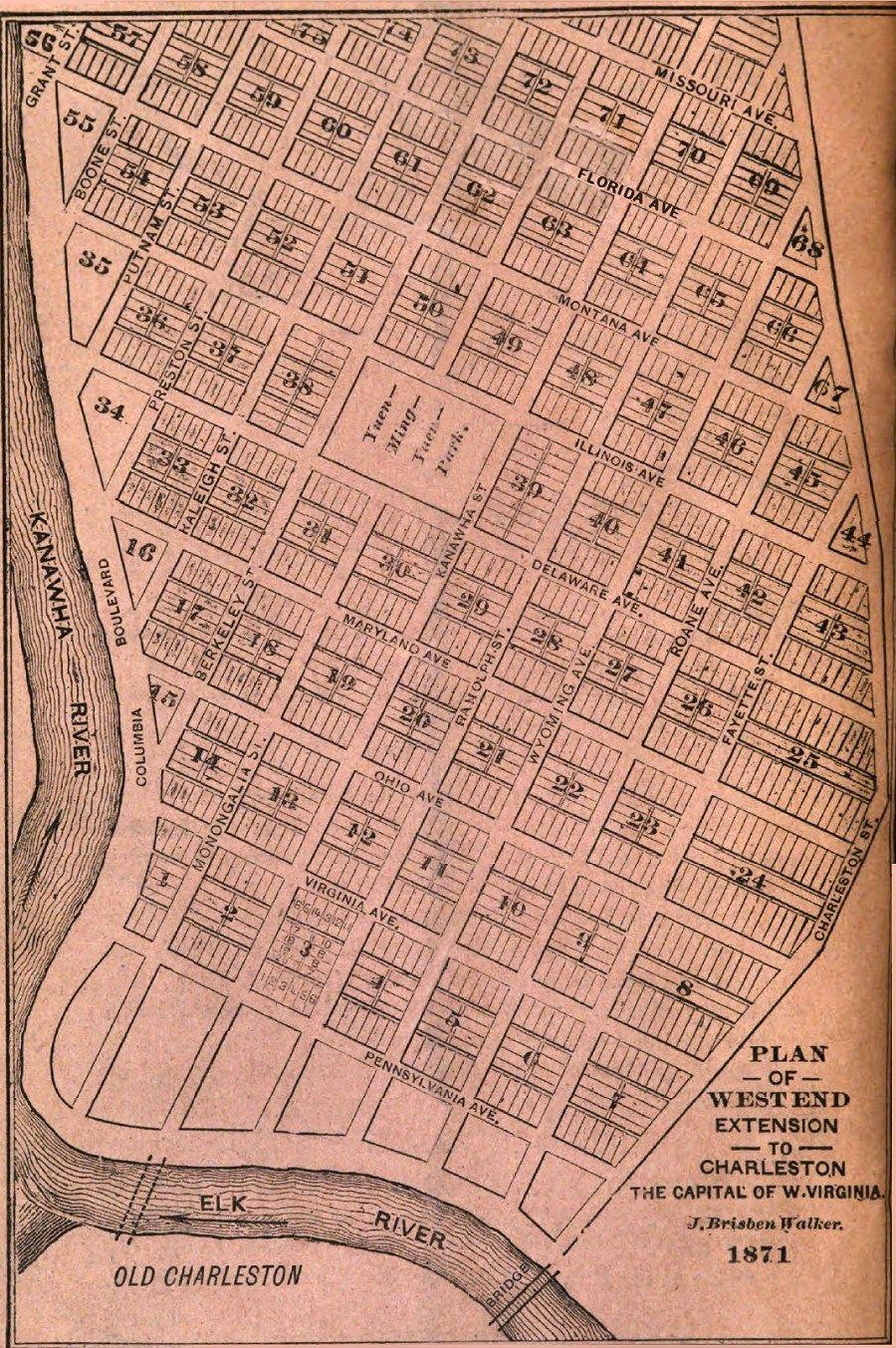 West Side Map 1871 Charleston West Virginia West Virginia