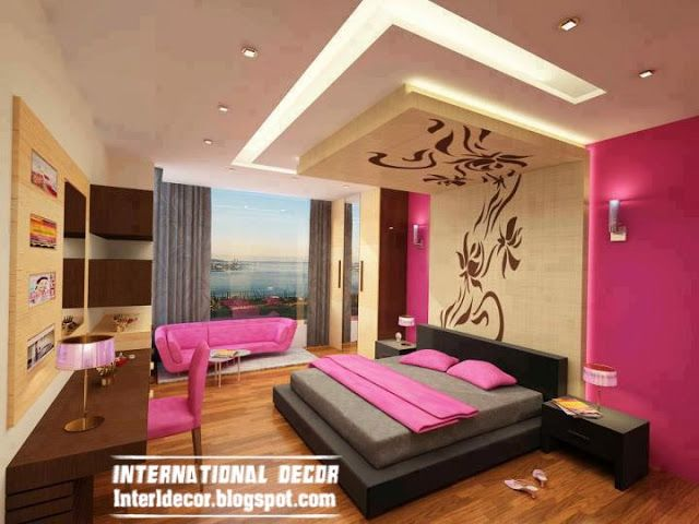 Contemporary Bedroom Design Ideas With New Ceiling Design And Pink