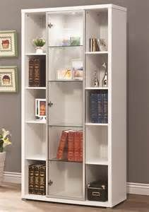 White Lighted Display Cabinet Bookcase With Glass Door Search