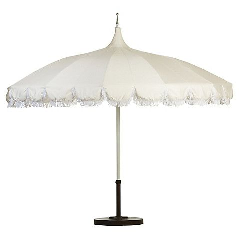 Aya Pagoda Fringe Patio Umbrella White Patio Umbrella Outdoor