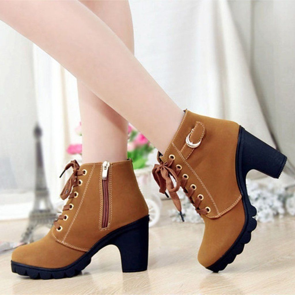 b289ae655db New High-heeled Boots with Thick Soled Boots Casual Muffin Round ...