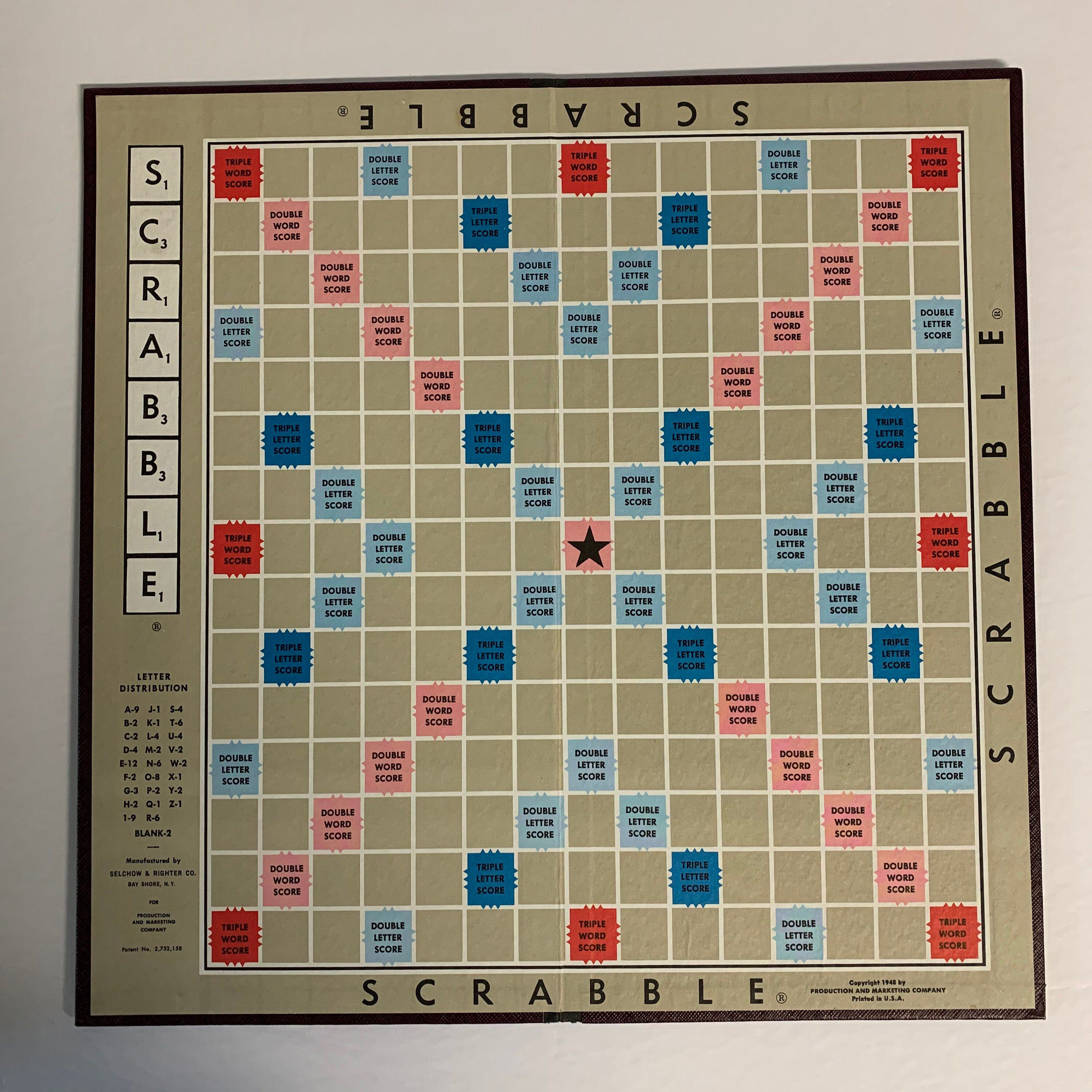 Vintage 1948 Scrabble Board 14 Game Board Only Selchow Etsy Scrabble Board Scrabble Scrabble Crafts