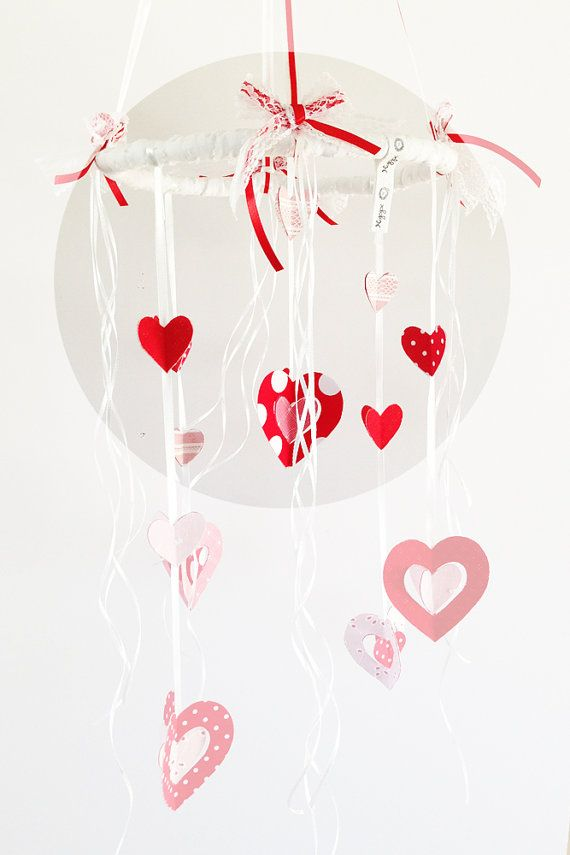 Valentine's day  home decoration Red and white hearts by Nuppi, $65.00