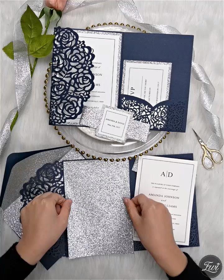Photo of Marineblau und Silber Laser geschnitten Hochzeit Einladung D…