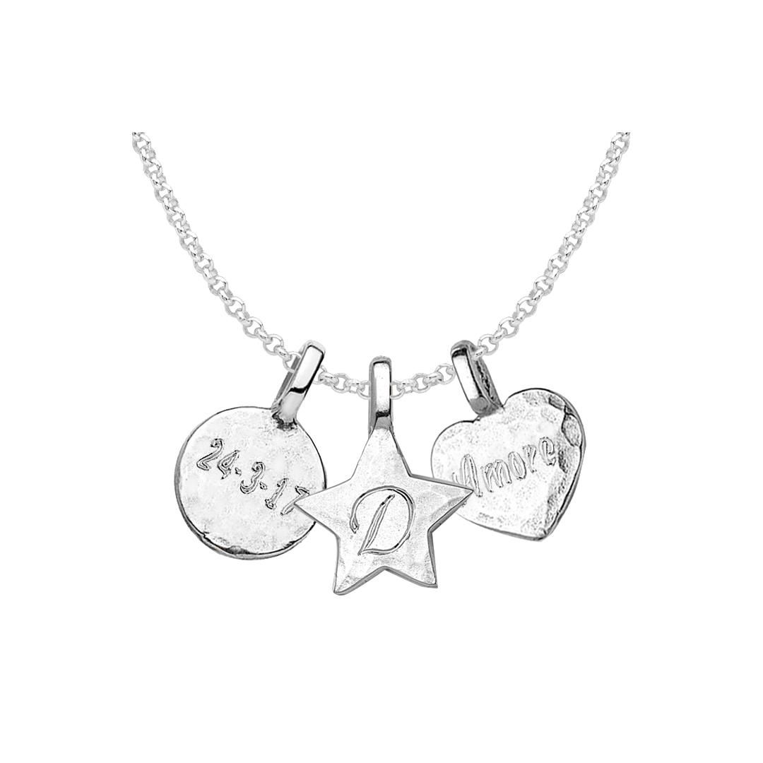 7569999beff61 Dower & Hall Engravable Disc, Star and Heart Pendant Necklace ...
