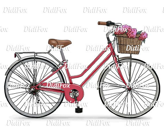 A0089 Blue Retro Bicycle Vintage Bike Flower Basket Digital