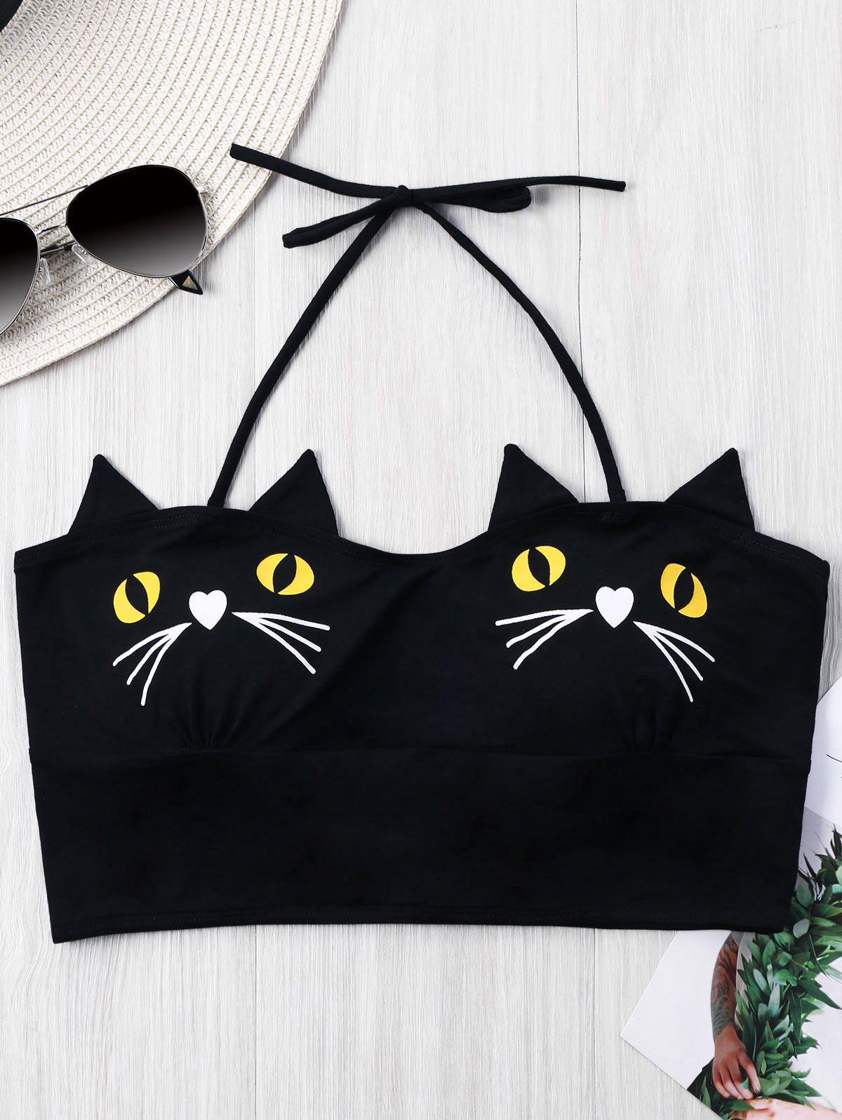 Black Kitten Spaghetti Strap Harajuku Crop Top On Storenvy In 2020 Girls Crop Tops Black Kitten Halter Crop Top