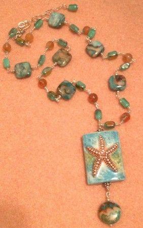 starfish and agates pendant