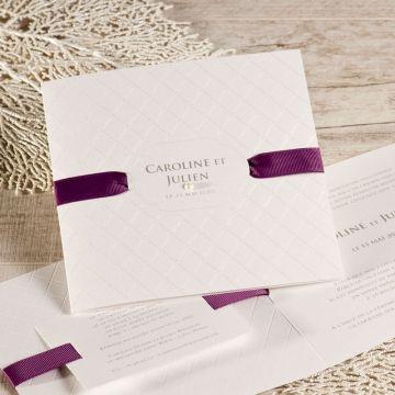 Faire-part mariage boudoir ruban violet