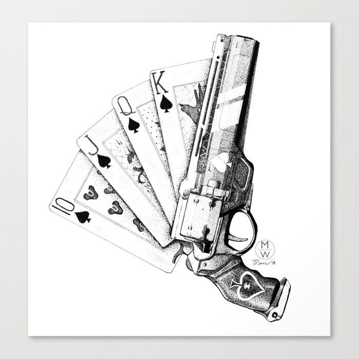 The Ace Of Spades Canvas Print by Mw Inkworks - MEDIUM