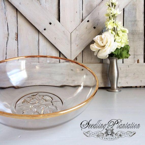 Vintage Gold Glass Serving Bowl Retro by seedlingplantation