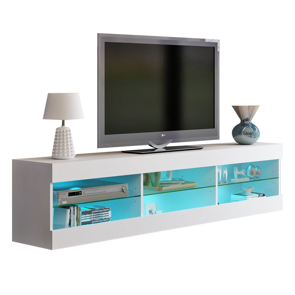 Modern TV Unit Cabinet Stand Sideboard High Gloss Body and Doors LED Light