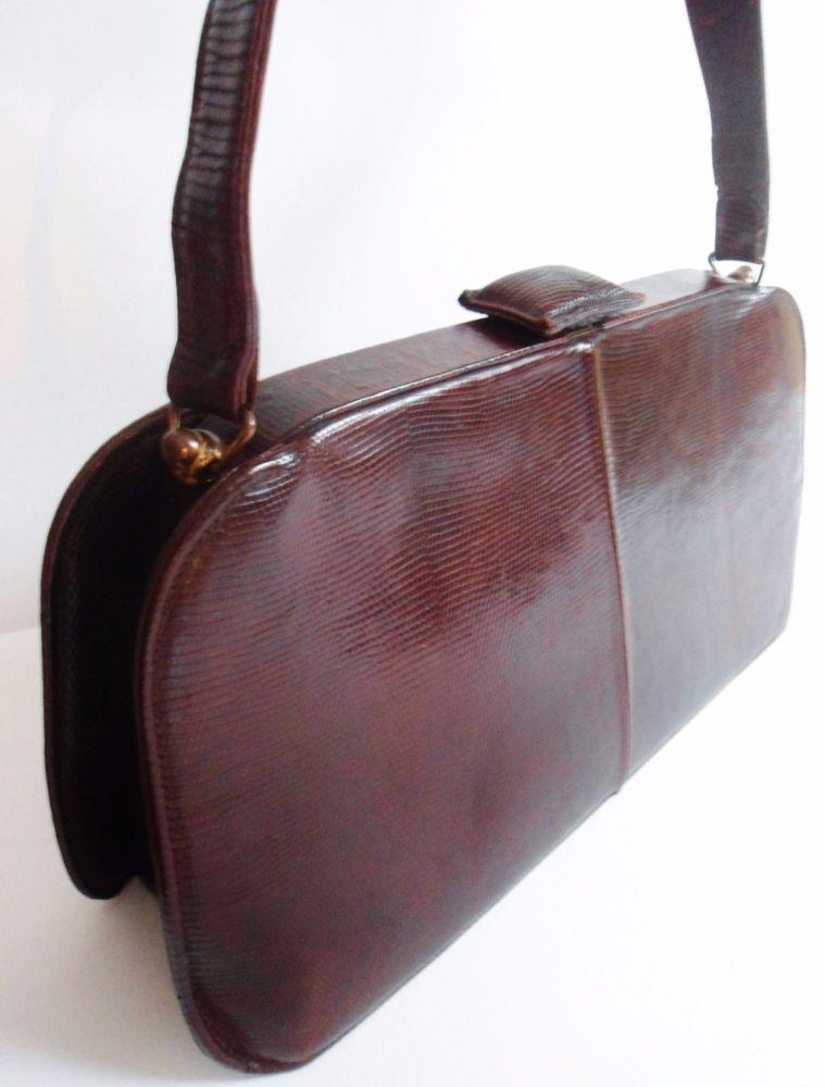 Vintage 40s 50s Jane Shilton Brown Genuine Lizard Leather Boxy Handbag Bag Deco