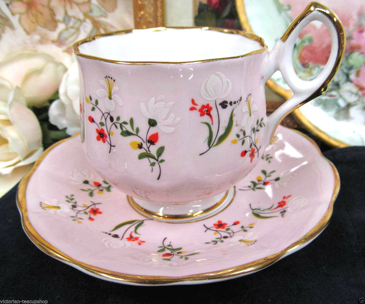 Royal albert bone china tea cup amp saucer winsome pattern ebay - Rosina Tea Cup And Saucer Delicate Pink And Floral Teacup Painted Ebay