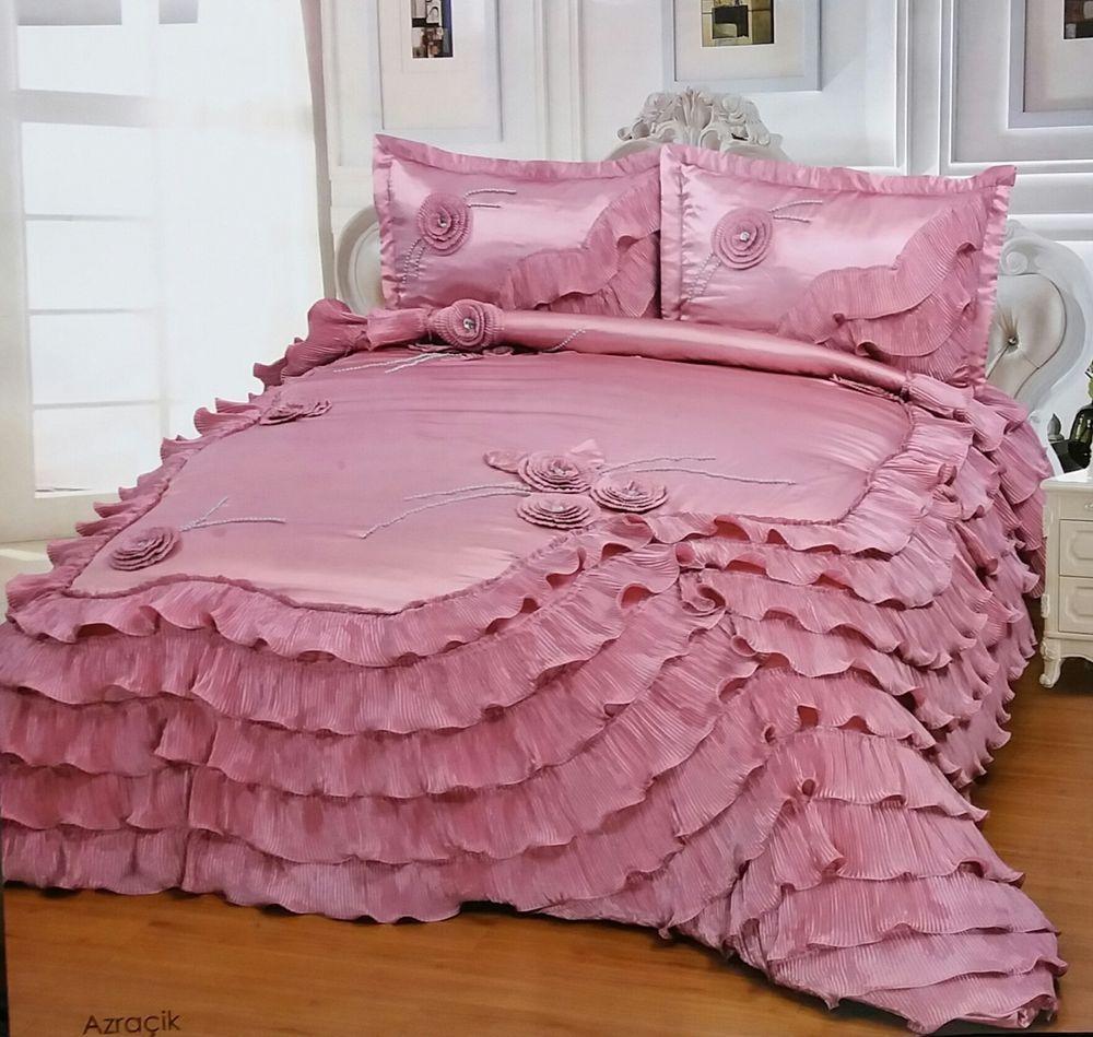 Edred n 3pcs rosa de lujo para cama ropa de cama 2 fundas de coj n colcha curiosidades - Fundas para cama ...
