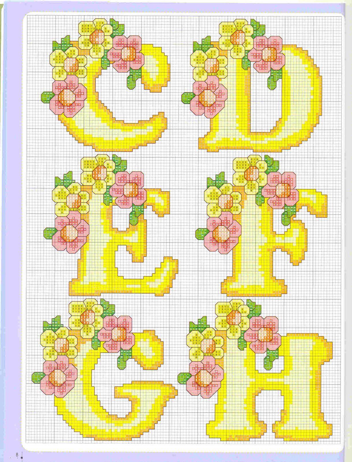 Letras Com Flores Em Ponto Cruz Com Imagens Ponto Cruz Ponto