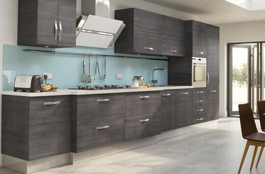 Light Grey Stained Kitchen Cabinets With White Tile Backsplash And - Light grey stained kitchen cabinets