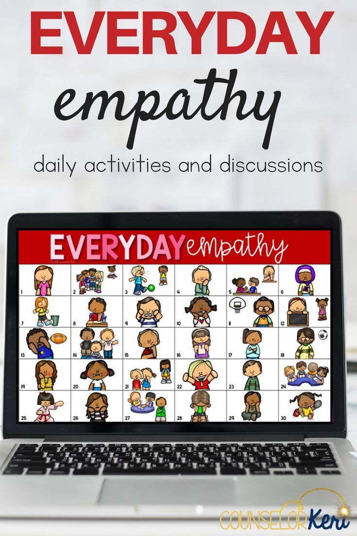 Promote empathy in the classroom with this daily empathy activity! Everyday Empathy is perfect for morning meetings, classroom community building, counselor check-ins, small group counseling, or classroom guidance lessons. Build empathy skills by identifying feelings, evaluating social situations, and analyzing conversations. #counselorkeri #schoolcounseling #empathy
