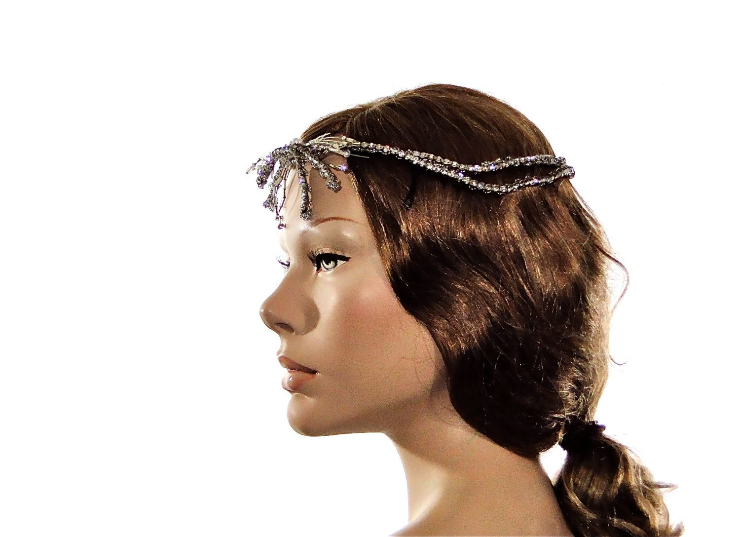 Art deco hair accessories flapper wreath boho wired prong set stones