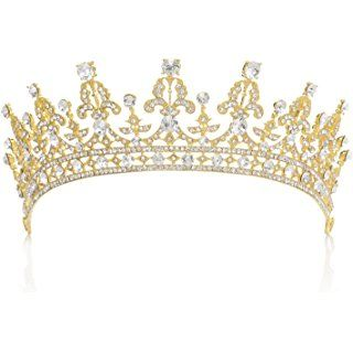 Silver Pearl Wedding Crown for Bride Rhinestone Costume Accessories for Birthday Party Prom SWEETV Princess Diana Tiara for Women