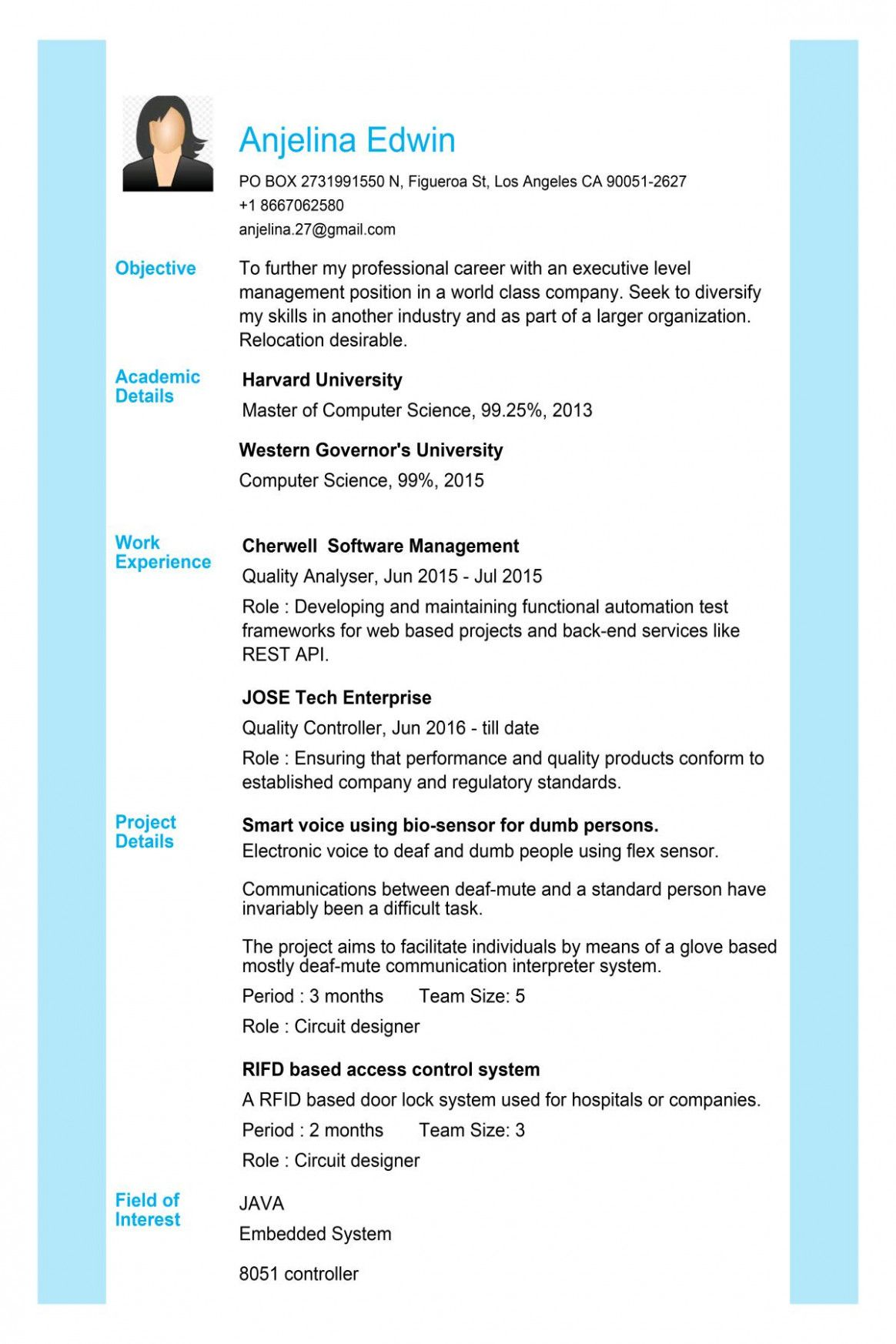11 Gp Rating Fresher Resume Format