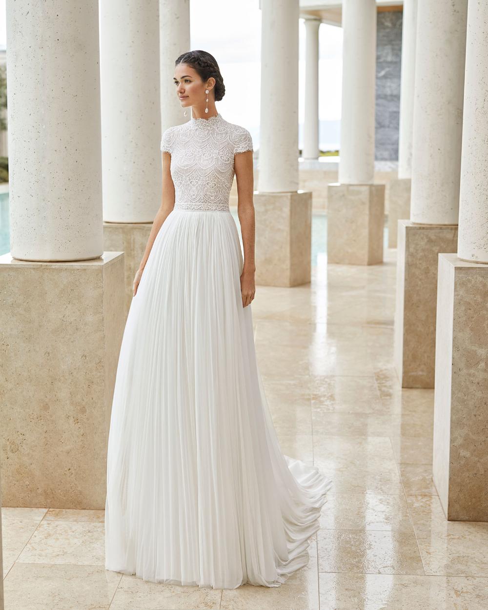 Salina Bridal 2020 Rosa Clara Couture Collection In 2020 Short Sleeve Wedding Dress High Neck Wedding Dress Stylish Wedding Dresses