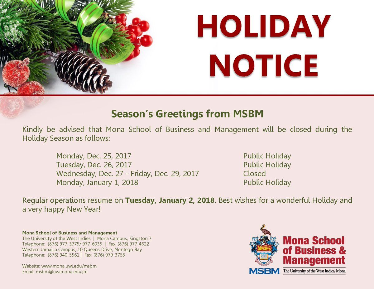 Season's Greetings from MSBM Kindly note the dates that