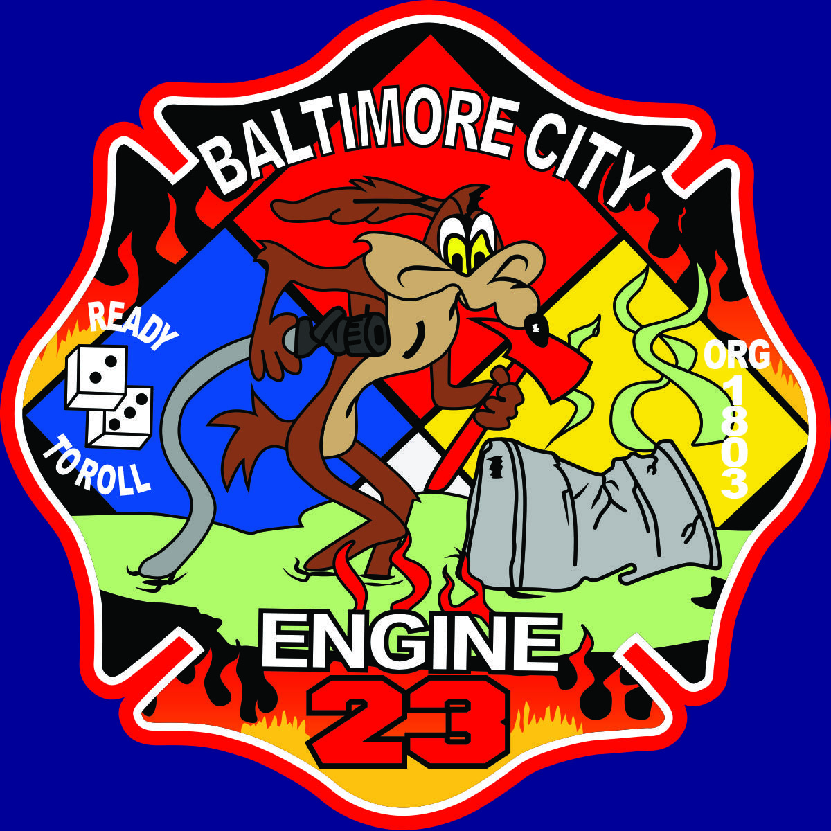 Baltimore City Engine 23 Coyote patch redrawn in vector