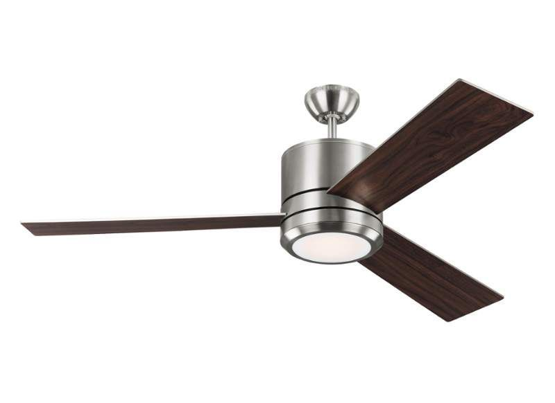 "Monte Carlo Vision Max 3 Blade 56"" Indoor Ceiling Fan - Light Kit Blades & Wal Brushed Steel Fans Ceiling Fans Indoor Ceiling Fans"