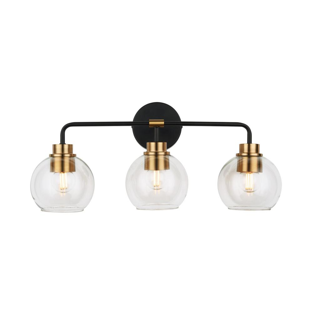 Home Decorators Collection 3 Light Aged Bronze And Brass Vanity Light Hd 1861ab The Home Depot In 2020 Brass Vanity Light Brass Bathroom Lighting Vanity Lighting